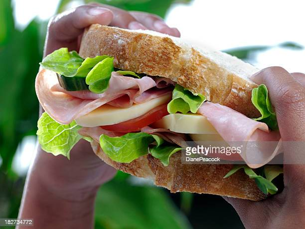 Close-up of big ham sandwich being held in small black hands