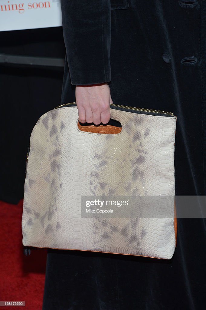 A close-up of Billie Wildrick's purse at the 'Admission' New York Premiere at AMC Loews Lincoln Square 13 on March 5, 2013 in New York City.