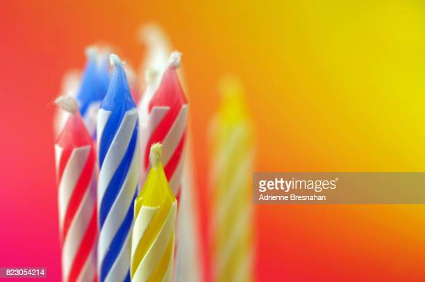 Close-Up of Birthday Candles on Colorful Background