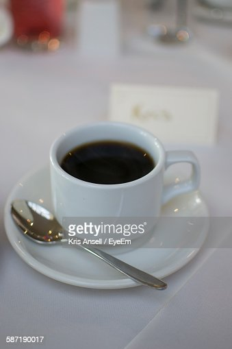 Close-Up Of Black Coffee In Cafe