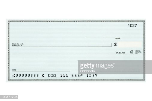 Close-up of blank bank check sample against white background