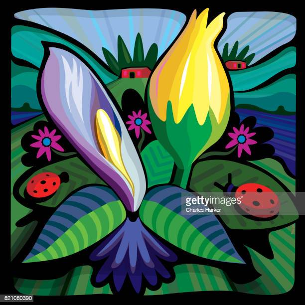 Closeup of Blooming Flowers in Landscape Illustration in Square Format