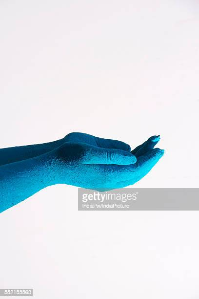 Close-up of blue colored cupped hands during Holi festival over white background