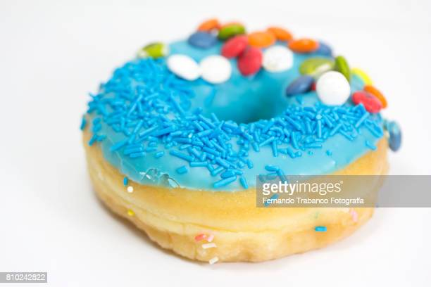 Close-up of blue donuts