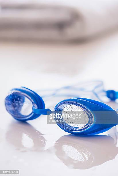 Close-up of blue swimming goggles