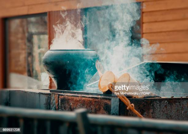 Close-up of boiling pot in kitchen