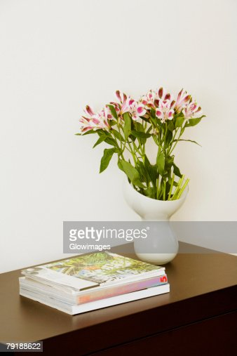 Close-up of books and a flower vase on a side table : Foto de stock