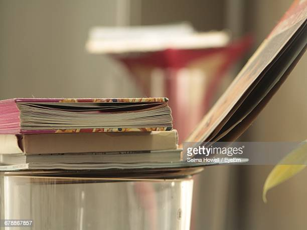 Close-Up Of Books On Vinyl Records