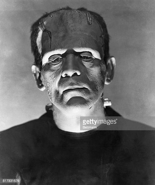 Closeup of Boris Karloff as the monster in a scene from 'Frankenstein'