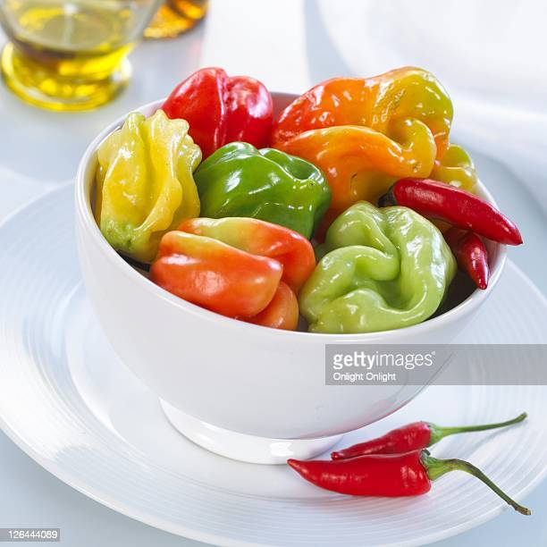 Close-up of bowl of bell peppers on plate