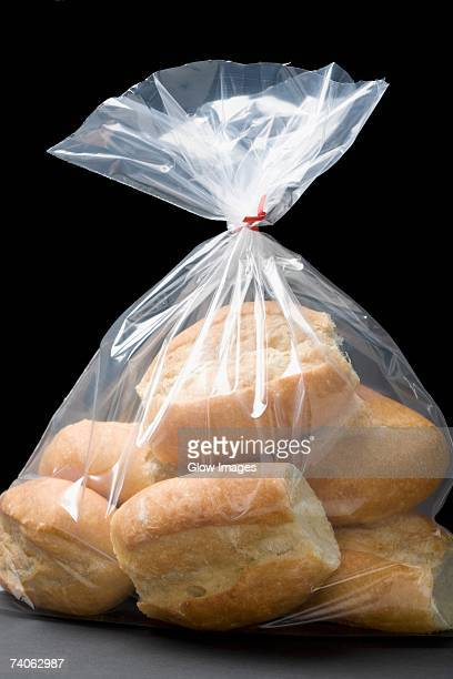 Close-up of bread buns in a plastic bag