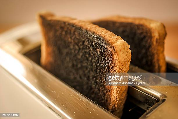 Close-Up Of Bread In Toaster