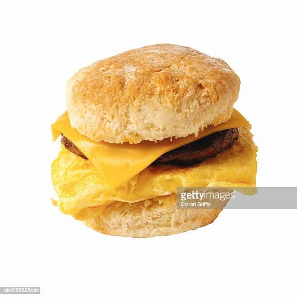 Close-up of breakfast sandwich