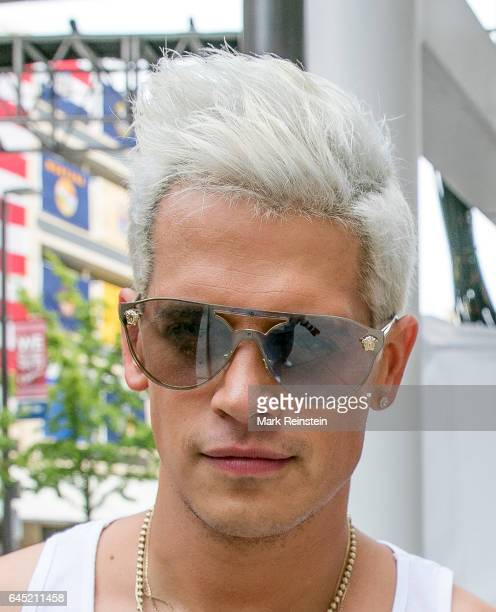 Closeup of British tech journalist and social provocateur Milo Yiannopoulos as he poses outside Quicken Loans Arena during the Republican National...