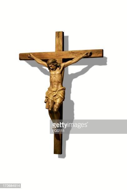 Close-up of bronze crucifix statue