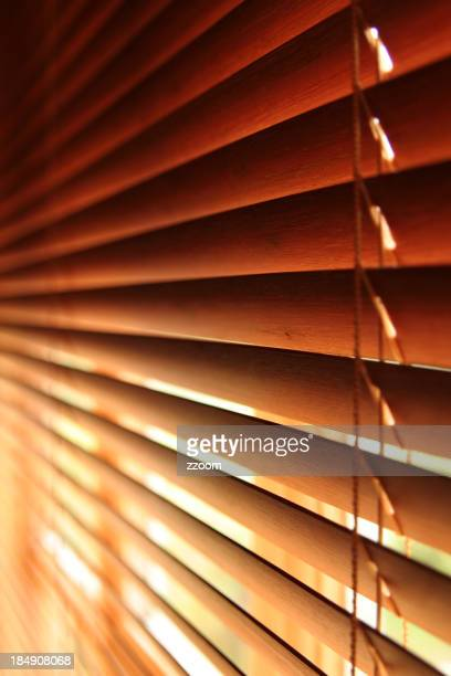 Close-up of brown Venetian blind, jealousies