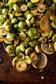 Closeup of browned brussels sprouts and citrus