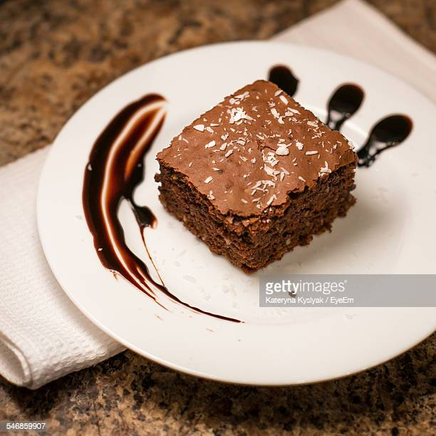 Close-Up Of Brownie On Plate