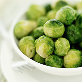 Close-up of Brussels sprouts in a bowl