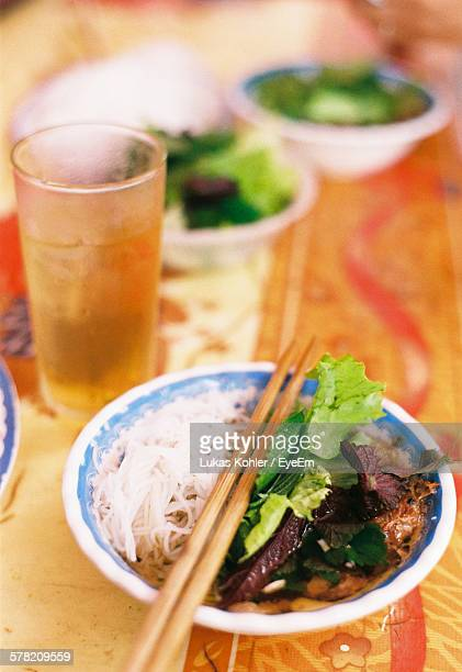 Close-Up Of Bun Cha Served In Bowl On Table