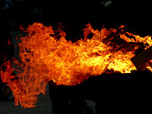 Close-Up Of Burning Fire In Fire Pit