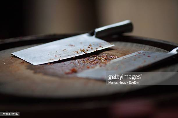 Close-Up of Butcher Knife On Table