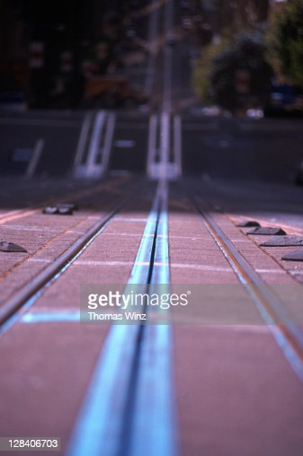 close-up of cable car tracks, sf, ca