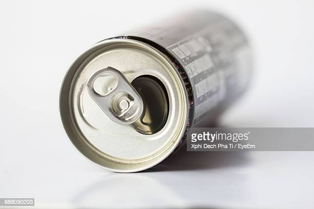 Close-Up Of Can Over White Background