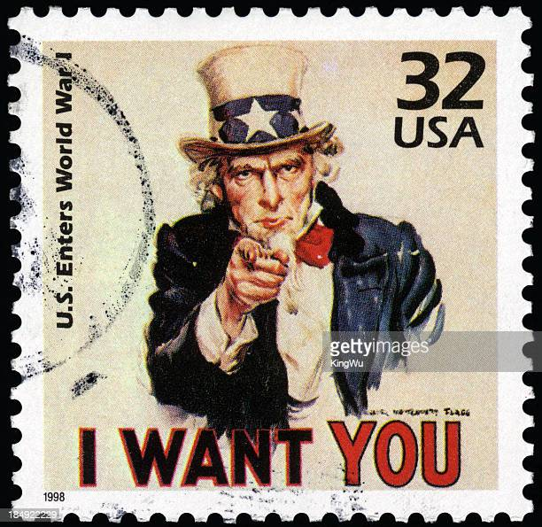 Close-up of cancelled USA Uncle Sam postage stamp