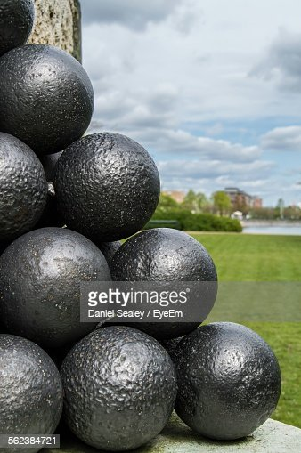Close-Up Of Cannonballs On Field