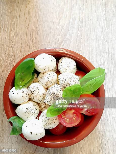 Close-Up Of Caprese Salad On Table