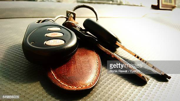 Close-Up Of Car Keys On Table