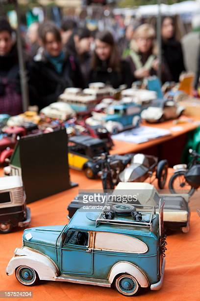 Close-up of car toys at outdoor flea market in Madrid Spain