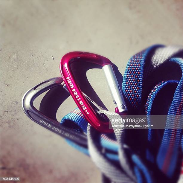 Close-Up Of Carabiner On Table