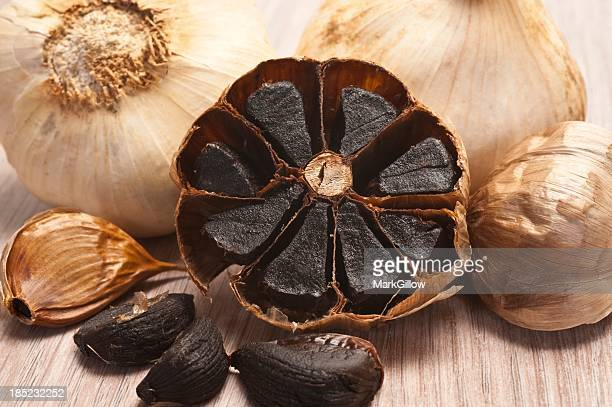 Close-up of caramelized flesh of black garlic