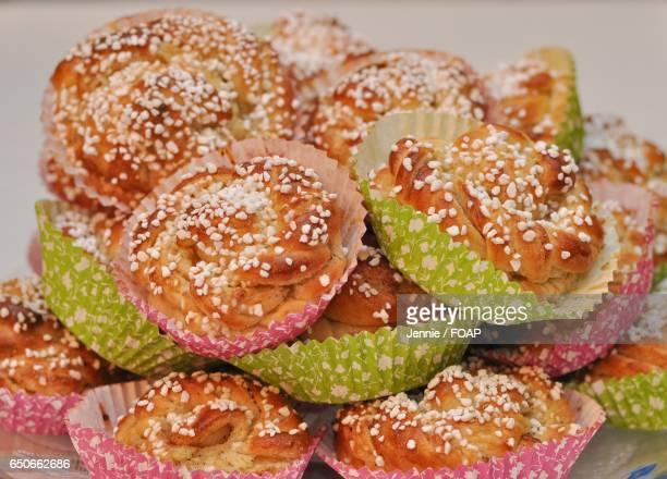 Close-up of cardamom bun