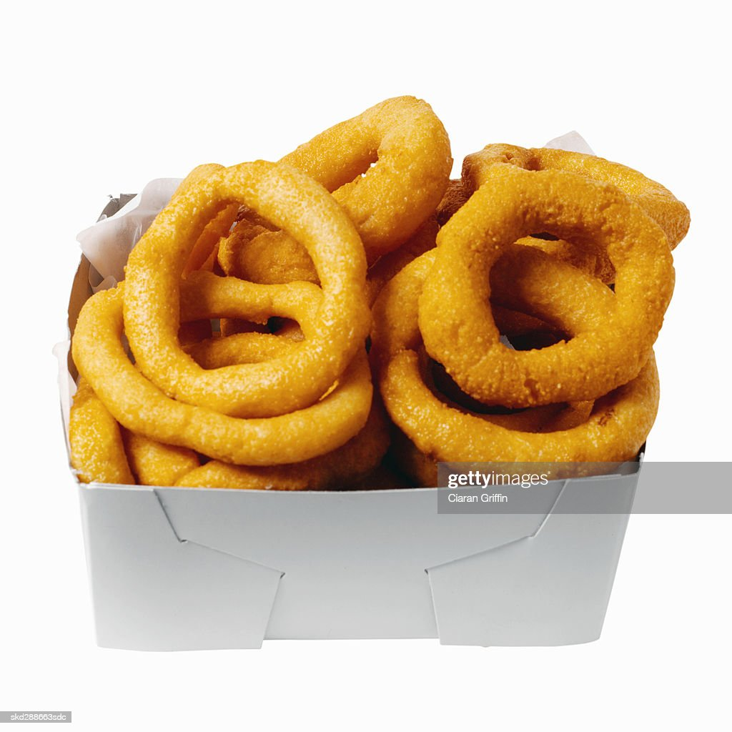 Close-up of carton of onion rings