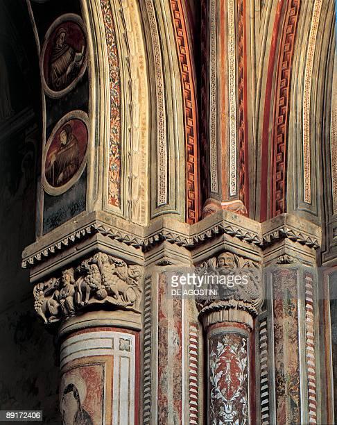 Closeup of carvings on a column St Catherine Of Alessandria Galatina Salento Puglia Italy