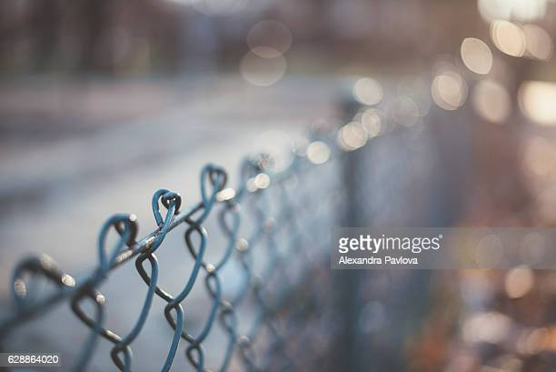 Close-up of chainlink fence in sunlight