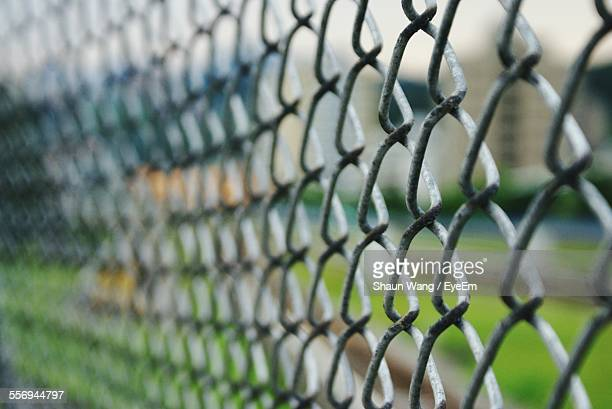 Close-Up Of Chainlink Fence Outdoors