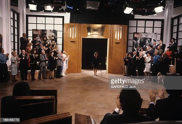 CloseUp Of Chantal Nobel France 13 mai 1989 l'actrice française Chantal NOBEL retrouve son public sur le plateau de la chaine de télévision TF1 lors...