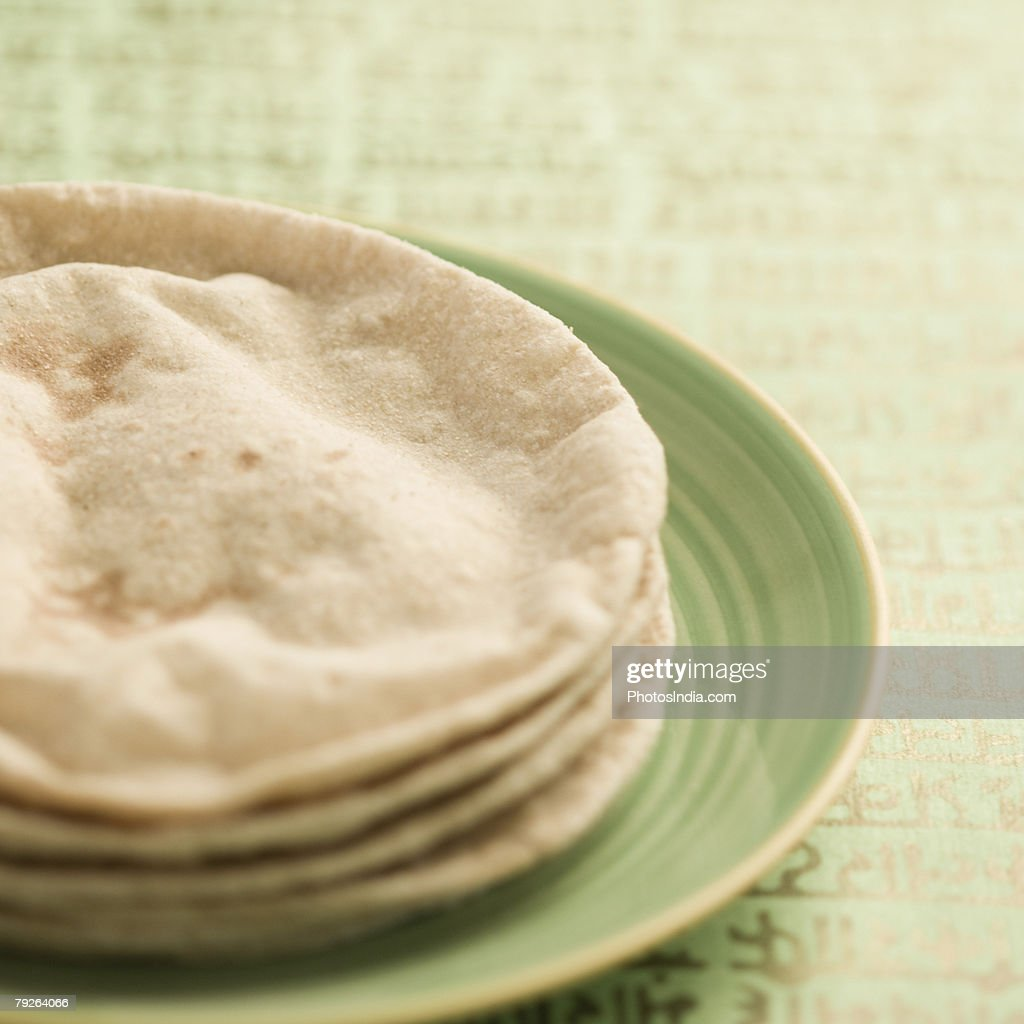 Close-up of chapattis in a plate