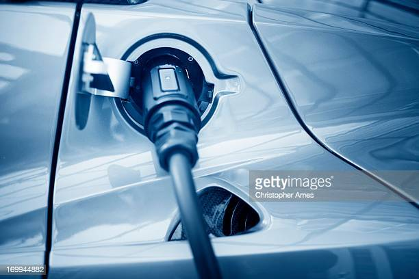 Close-up of charging port on electric car