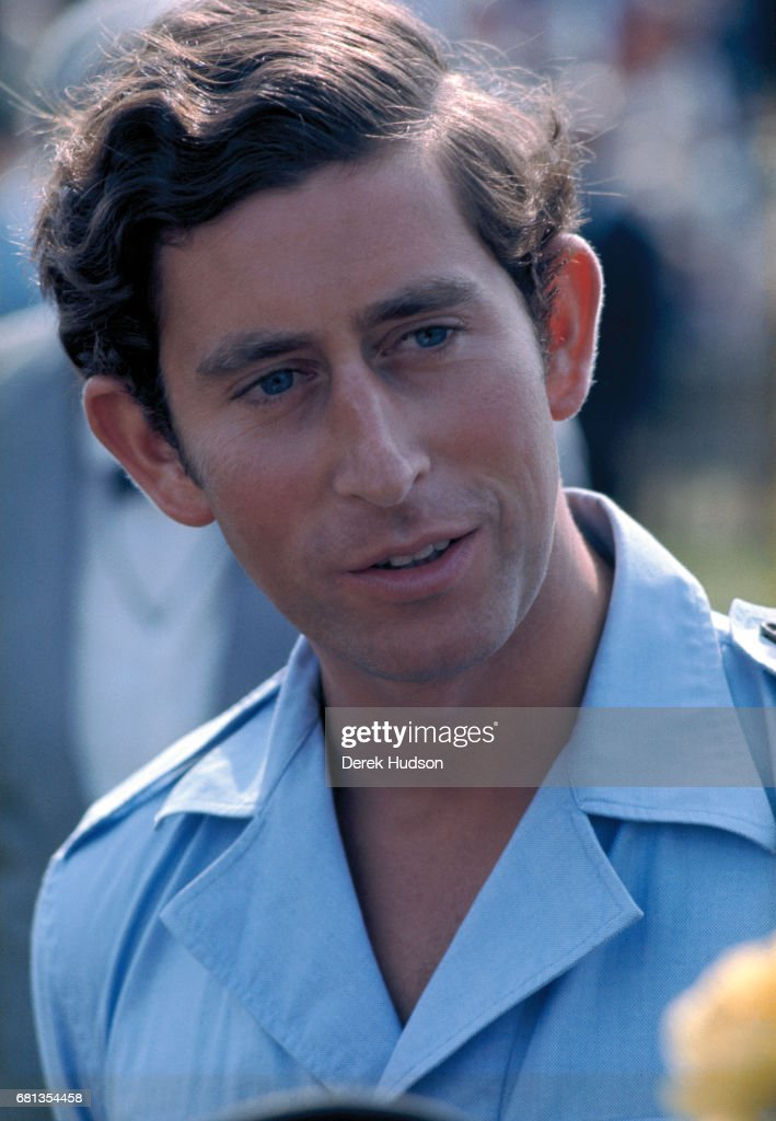 Close-up of Charles, Prince of Wales as he attends a polo match, Windsor, England, early to mid-1970s.