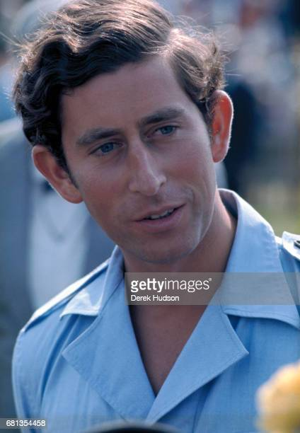 Closeup of Charles Prince of Wales as he attends a polo match Windsor England early to mid1970s