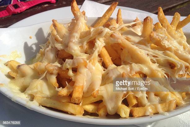 Close-Up Of Cheese And French Fries In Plate
