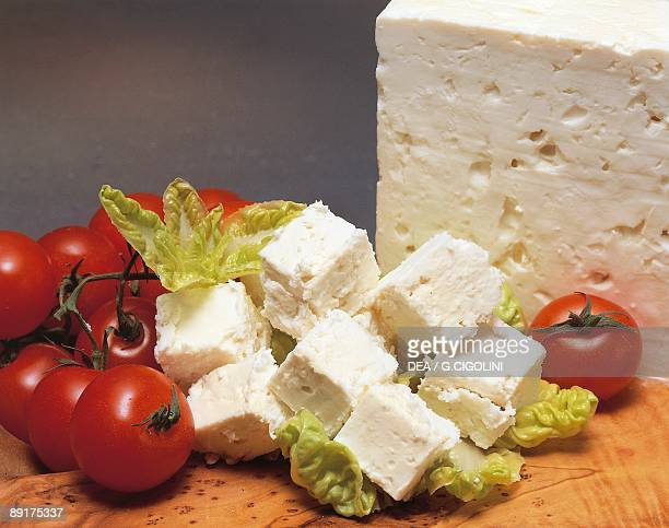 Closeup of cheese with tomatoes