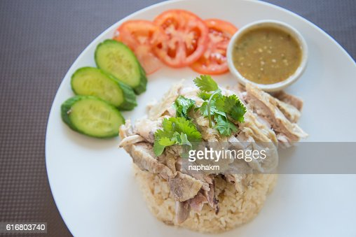 Close-Up Of Chicken Meat And Rice : Stock Photo
