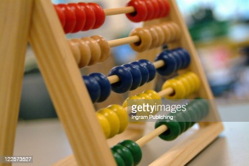 Close-up of child's abacus in classroom. : Stock Photo