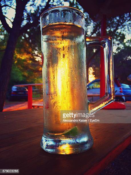 Close-Up Of Chilled Beer Mug On Table